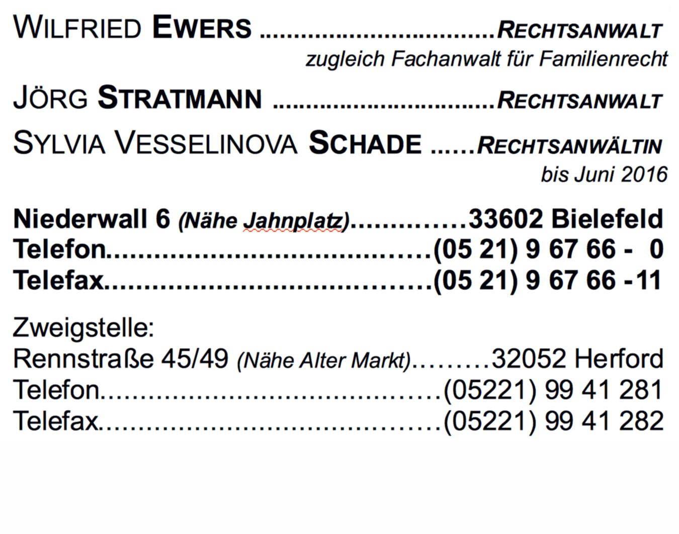 Rechtsanwälte Stratmann Und Ewers Niederwall 6 33602 Bielefeld